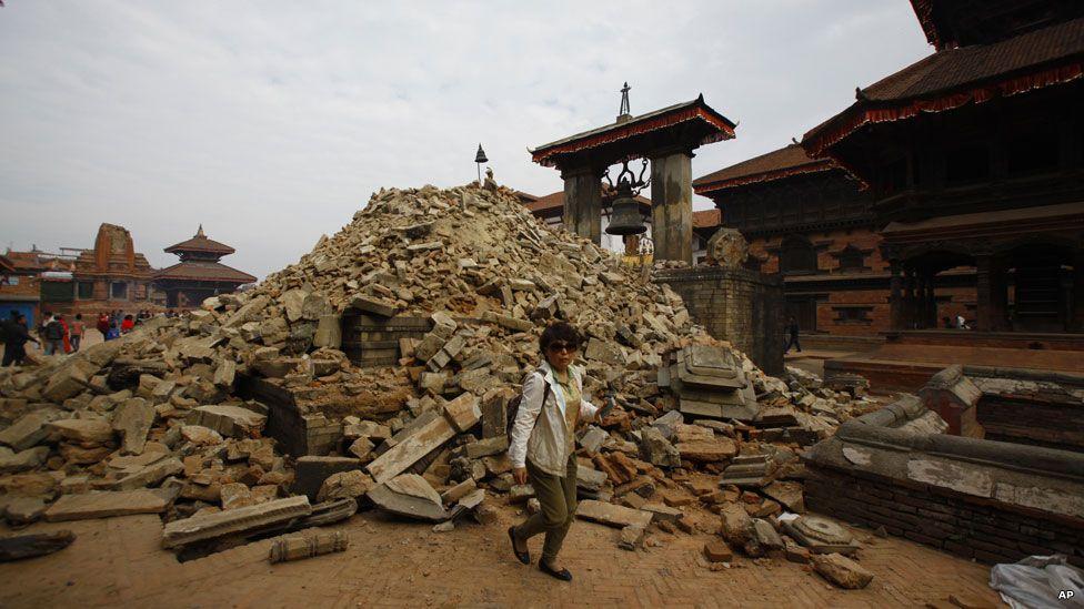 Bhaktapur's Durbar Square after the quake