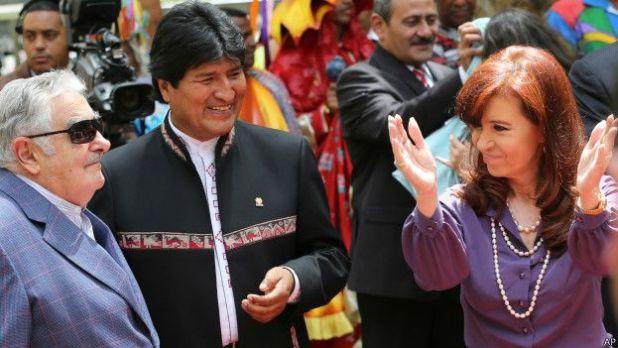 José Mujica, Evo Morales y Cristina Fernández de Kirchner