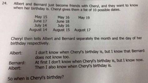 Problema de matemática de cuando es el cumpleaños de Cheryl