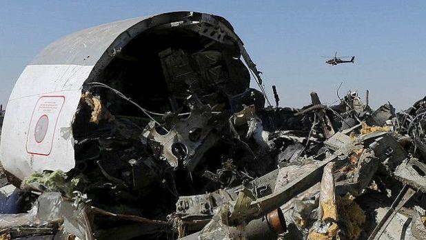 Los restos del avión ruso.