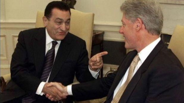 Hosni Mubarak y Bill Clinton