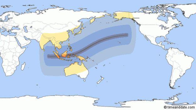 Mapa que muestra el recorrido del eclipse solar.