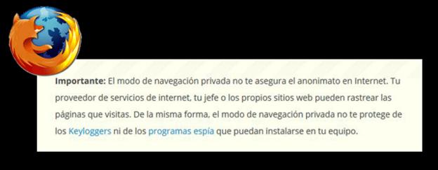 La letra pequeña del incógnito de Firefox