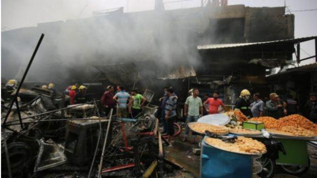 سوق في حي بغداد الجديدة شرقي العاصمة العراقية حيث وقع التفجير
