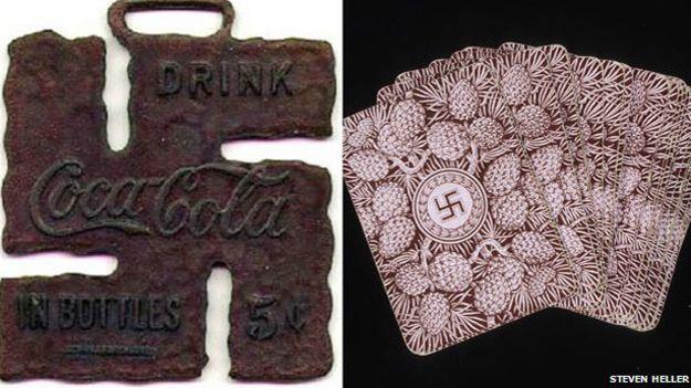 Coca-cola y naipes con esvástica