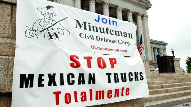 Protesta en Oklahoma contra la entrada de camiones mexicanos a Estados Unidos. Foto: Getty