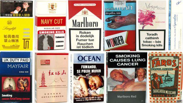 Ejemplos de paquetes de cigarrillos con imágenes gráficas