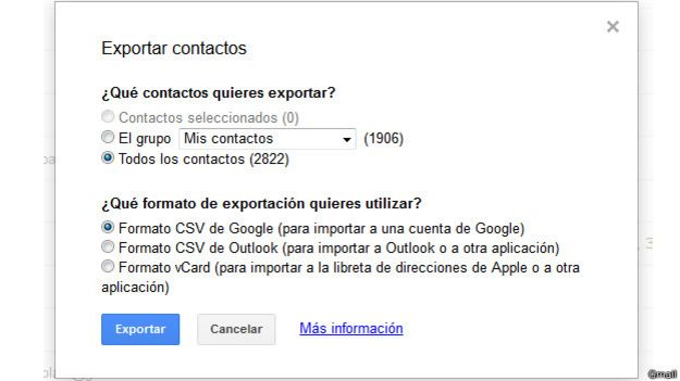 Exportar en Gmail