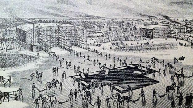 Sacando hielo en Indiana, cerca de 1880