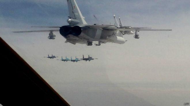 Bombardeiros russos em foto de 11 de fevereiro (AFP)