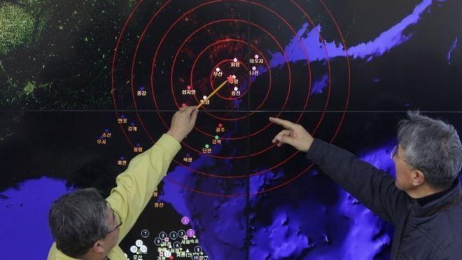 Các nhà khí tượng Nam Hàn đang xác định địa điểm địa chấn tại Bắc Hàn (6 tháng Giêng 2015)
