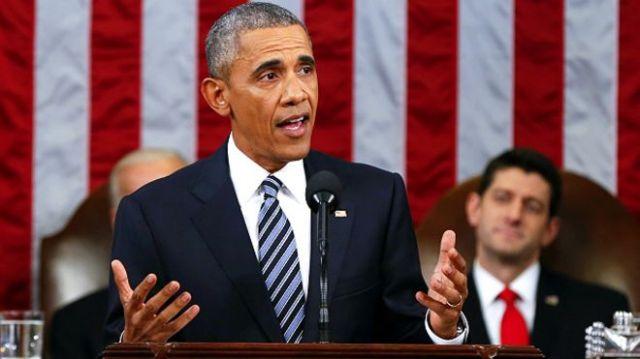 स्टेट ऑफ़ यूनियन भाषण देते बराक ओबामा