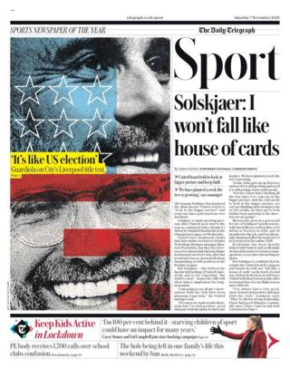 Saturday's Telegraph back page with the headline Solskjaer: I won't fall like a house of cards
