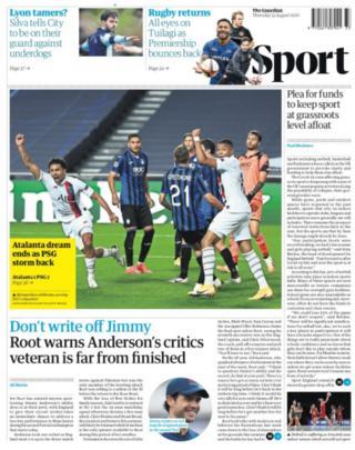 Thursdays Guardian focuses on Paris St-Germain's win over Atalanta