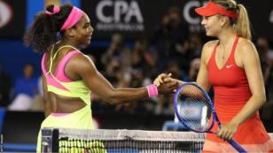 Serena Williams and Maria Sharapova shakes hands at the net after the 2015 Australian Open final
