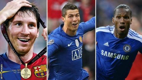 sport Lionel Messi, Cristiano Ronaldo and Didier Drogba