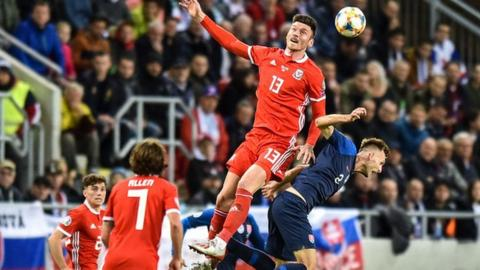 Kieffer Moore of Wales and Peter Pekarik of Slovakia compete for the ball
