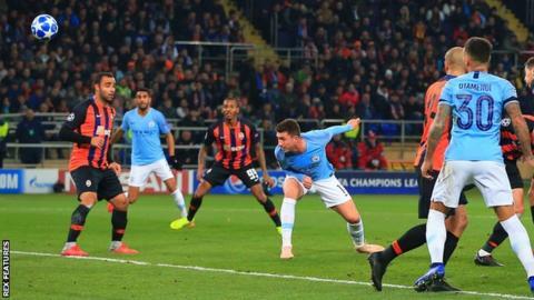 Aymeric Laporte Heads Manchester Citys Second Goal Against Shakhtar Donetsk