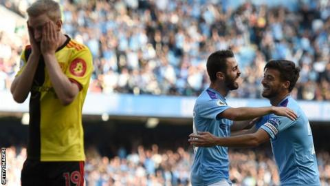 Bernardo Silva scored his first Manchester City hat-trick on a desperate day for Watford