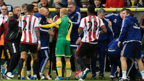 Norwich and Sunderland players and staff clash