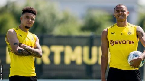 Jadon Sancho and Manuel Akanji in training for Dortmund