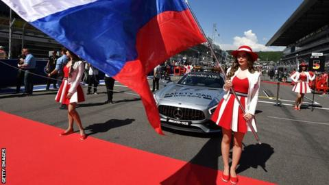 Grid girls at the Russian Grand Prix in 2017