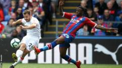 Aaron Wan-Bissaka in action for Crystal Palace against Bournemouth