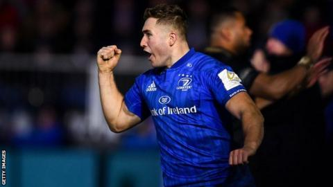 Jordan Larmour celebrates his try