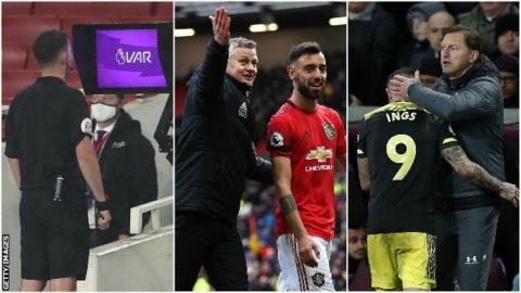 sport Referee looks at VAR monitor, Ole Gunnar Solskjaer and Bruno Fernandes, Ralph Hasenhuttl and Danny Ings