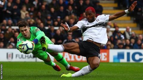 Kepa Arrizabalaga saves from Ryan Babel