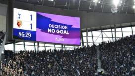 A wrong graphic is displayed during Tottenham's match against Watford