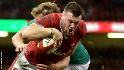 sport Wing Owen Lane scores for Wales against Ireland in August 2019