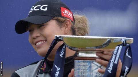 Ariya Jutanugarn with the Scottish Open trophy