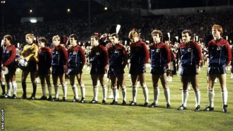 Scotland team containing Kenny Dalglish, Willie Miller and Alex McLeish