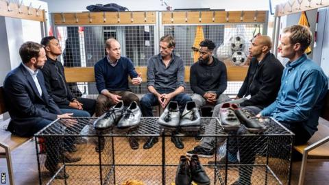 "(L-R) Gareth Southgate, pundit Jermaine Jenas, The Duke of Cambridge, Burnley footballer Peter Crouch, Tottenham Hotspur footballer Danny Rose, former Arsenal footballer Thierry Henry and TV presenter Dan Walker in the new BBC One film ""A Royal Team Talk: Tackling Mental Health""."