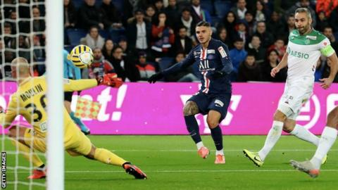 Paris St-Germain's Mauro Icardi opens the scoring against St-Etienne
