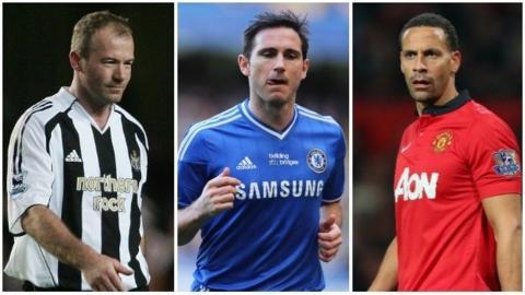 Alan Shearer, Frank Lampard and Rio Ferdinand