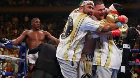 sport Ruiz celebrates beating Joshua