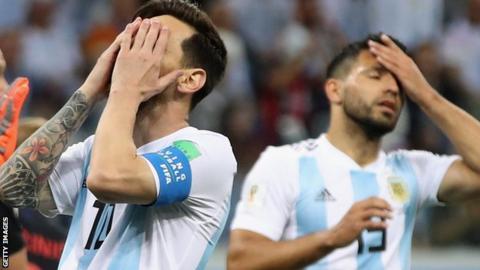 Argentina forwards Lionel Messi and Sergio Aguero