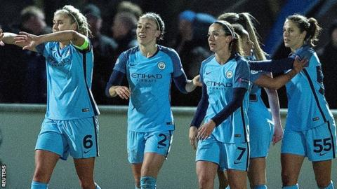 Manchester City women celebrate their goal v Fortuna Hjorring