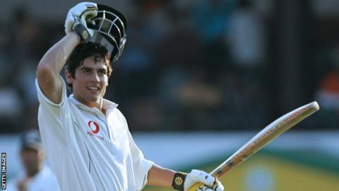 Alastair Cook celebrates his maiden Test century in 2006