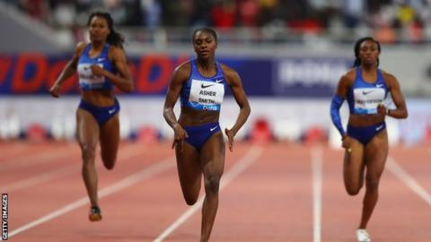 Dina Asher-Smith crossing the finish line to win the women's 200m at the 2019 Diamond League event in Doha, Qatar