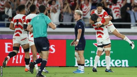 Japan celebrate their win over Scotland