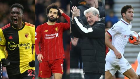sport Left to right: Ismaila Sarr, Mohamed Salah, Roy Hodgson, Marcos Alonso