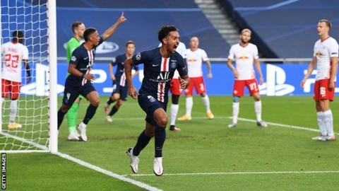Marquinhos (centre) celebrates scoring the opening goal for Paris Saint-Germain