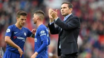 Chelsea manager Frank Lampard applauds fans after defeat at Manchester United