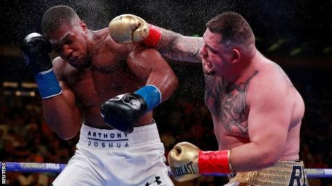 Andy Ruiz throws a punch at Anthony Joshua during their fight in New York in June