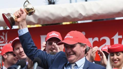 sport Darren Weir celebrates winning the Melbourne Cup in 2015