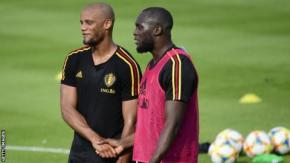 Belgium team-mates Vincent Kompany (left) and Romelu Lukaku