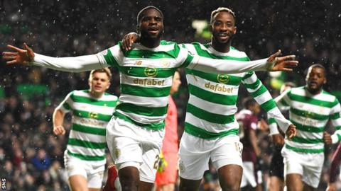 Moussa Dembele and Odsonne Edouard celebrate a Celtic goal